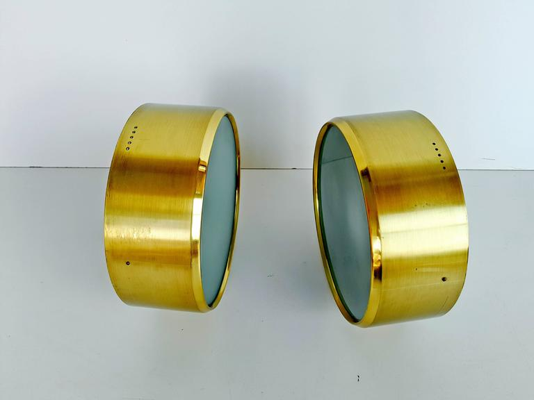 Rare Pair of Brass and Glass Ceiling/Wall Lights by Stilnovo, 1960s For Sale 3