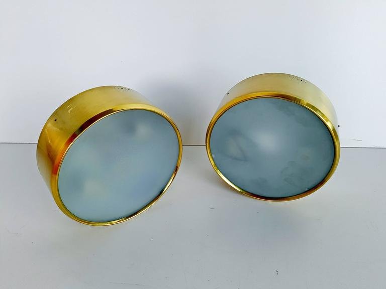 Rare Pair of Brass and Glass Ceiling/Wall Lights by Stilnovo, 1960s For Sale 4