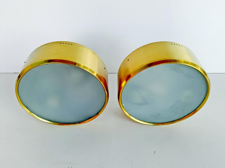 Rare Pair of Brass and Glass Ceiling/Wall Lights by Stilnovo, 1960s For Sale 5