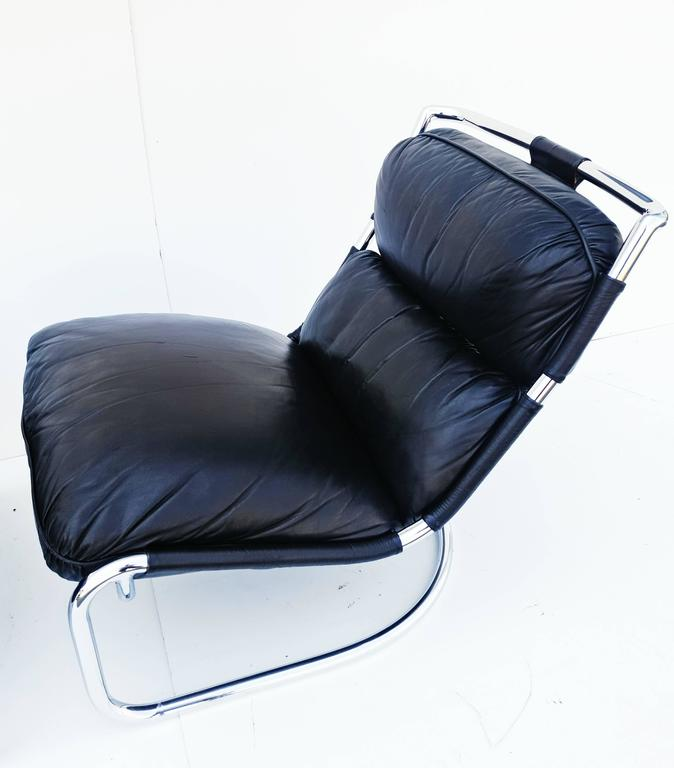Pair of Italian Leather Lounge Chair, 1970s For Sale 1