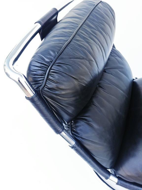 Pair of Italian Leather Lounge Chair, 1970s For Sale 2