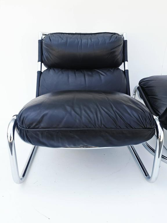 Pair of Italian Leather Lounge Chair, 1970s For Sale 4