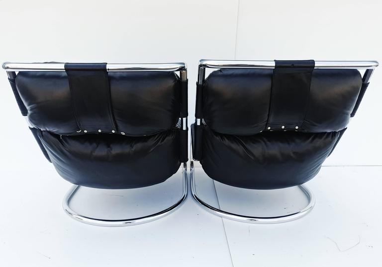 Pair of Italian Leather Lounge Chair, 1970s For Sale 6