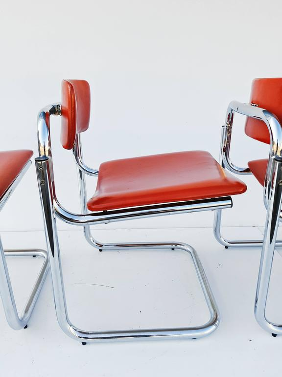 Faux Leather Rare Set of Four Dining Chairs, Italy, 1970s For Sale