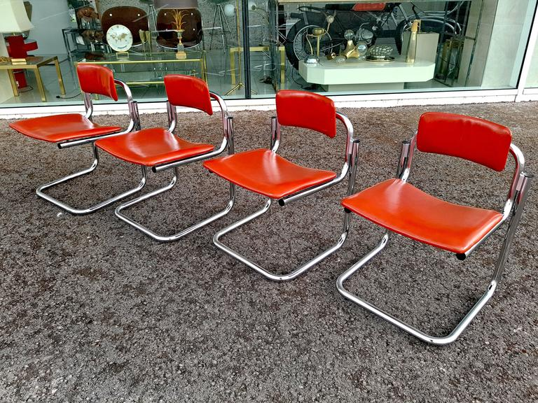 Rare Set of Four Dining Chairs, Italy, 1970s For Sale 4