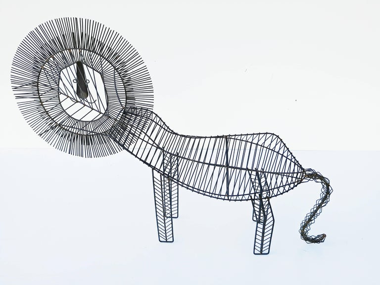 Large Modernist Wire Lion Sculpture For Sale 4