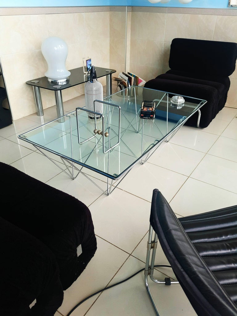 Glass Paolo Piva Attributed Coffee Table for B&B Italia For Sale