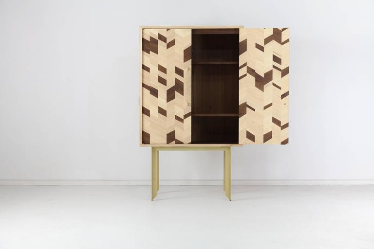 Modern Dorothy Dry Bar, American Hardwood and Brass For Sale