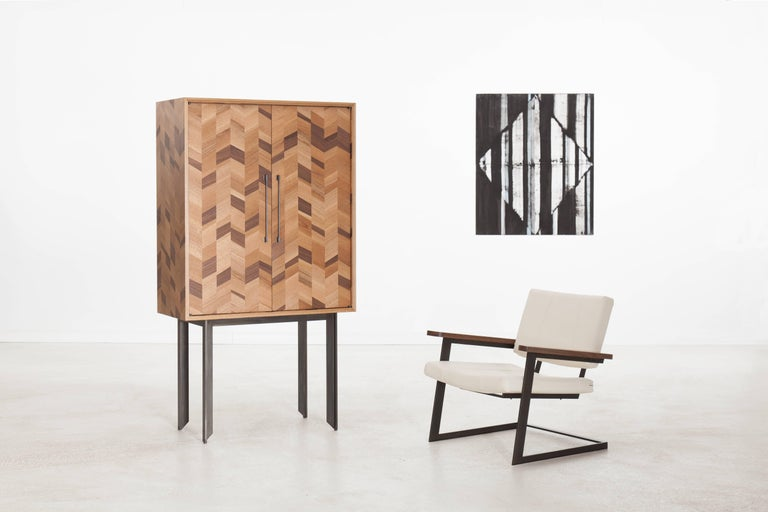 Pairing patterned woodwork with brass accents, the Dorothy Dry Bar is sharply complex and perfectly iconic. Made for the modern cocktail hour. Available in a variety of American hardwoods with studio-machined hardware. The Dorothy Dry Bar is made to