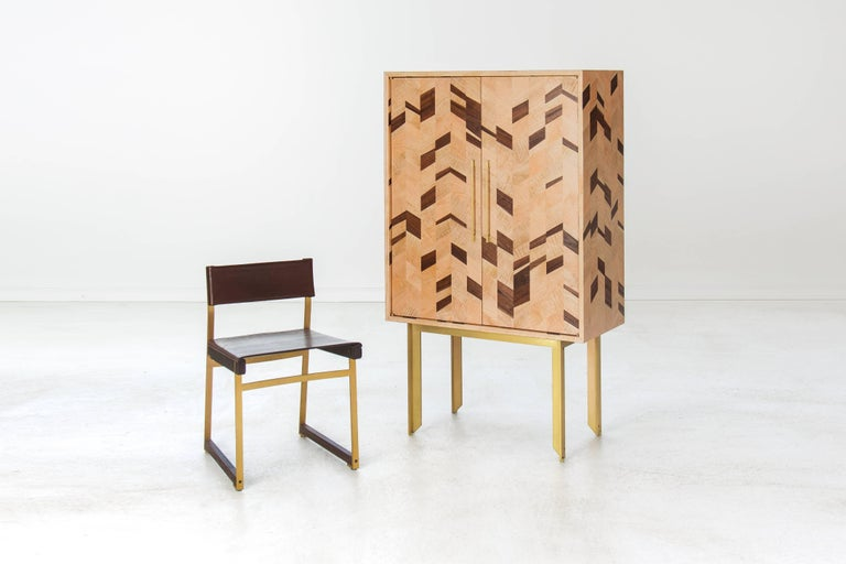 Contemporary Dorothy Dry Bar, American Hardwood and Brass For Sale