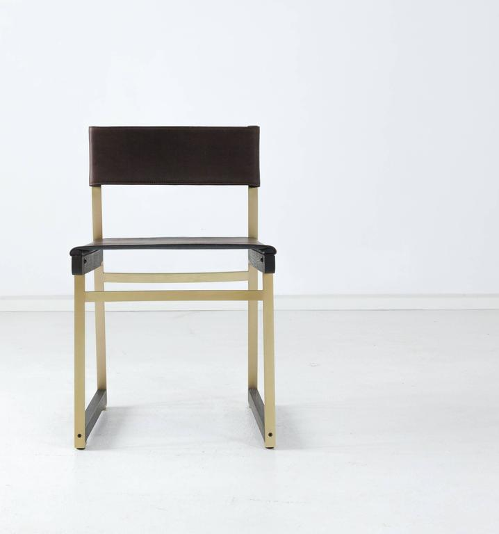Diego dining chair in leather american hardwood and steel for Leather and steel dining chairs