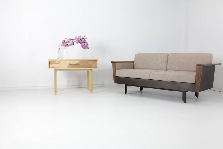 Modern Louise Sofa, Wool, American Hardwood and Steel For Sale