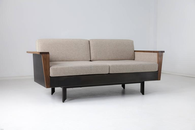 Contemporary Louise Sofa, Wool, American Hardwood and Steel For Sale