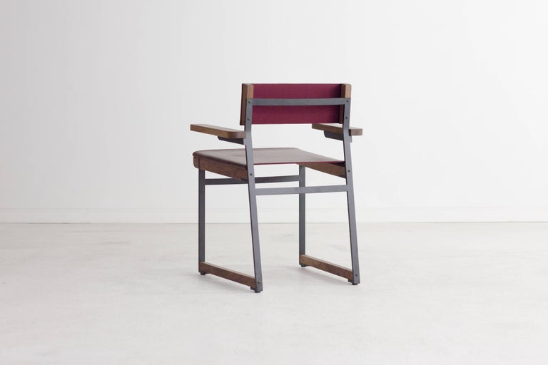 Modern Diego Armchair in Leather, American Hardwood and Steel For Sale