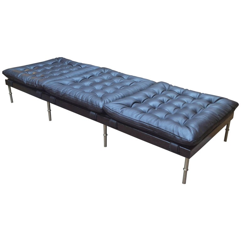 Campanha Daybed with Tri-Cushion Leather with Oiled Wenge Base and Brass Legs