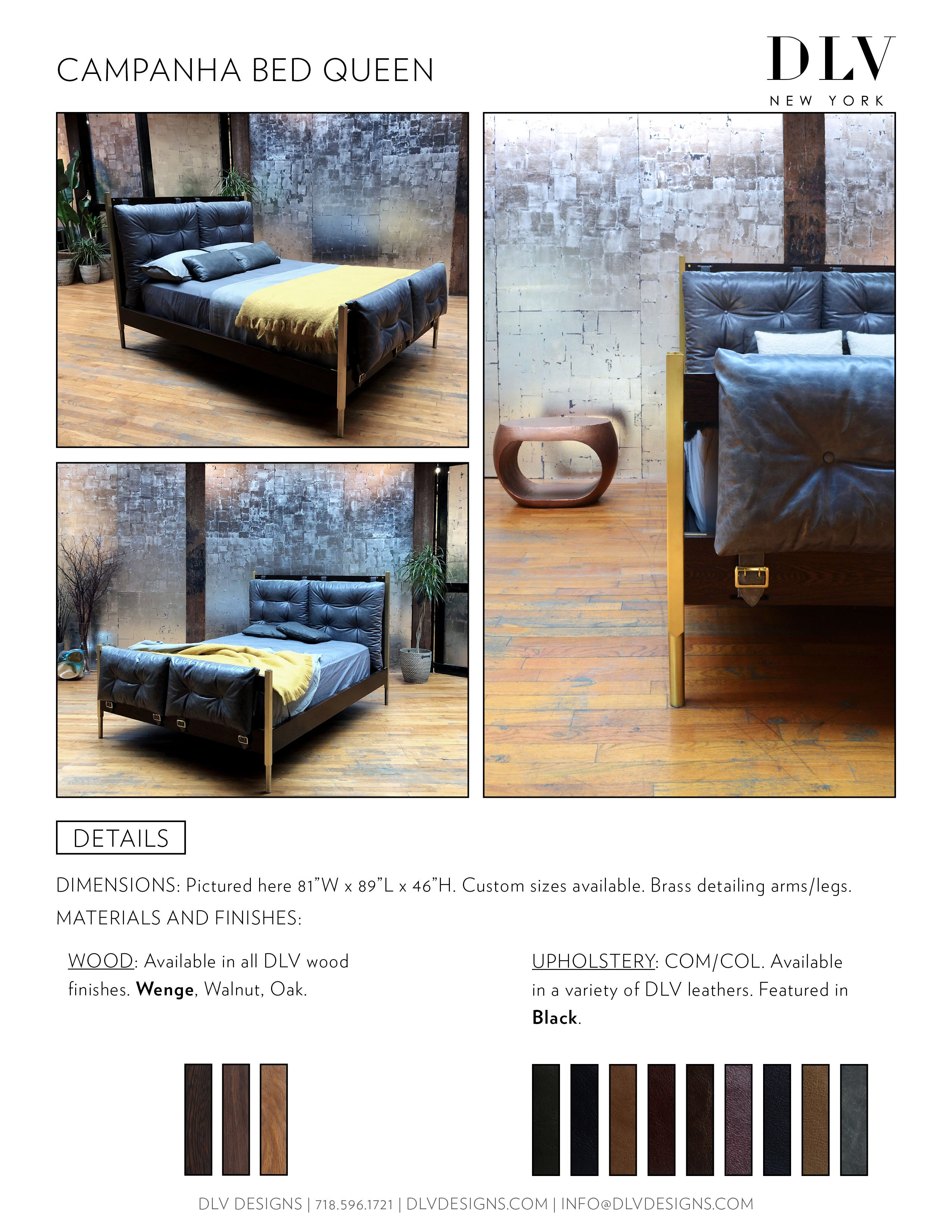 Campanha Bed Frame Tufted Leather Head And Footboard Brass Legs