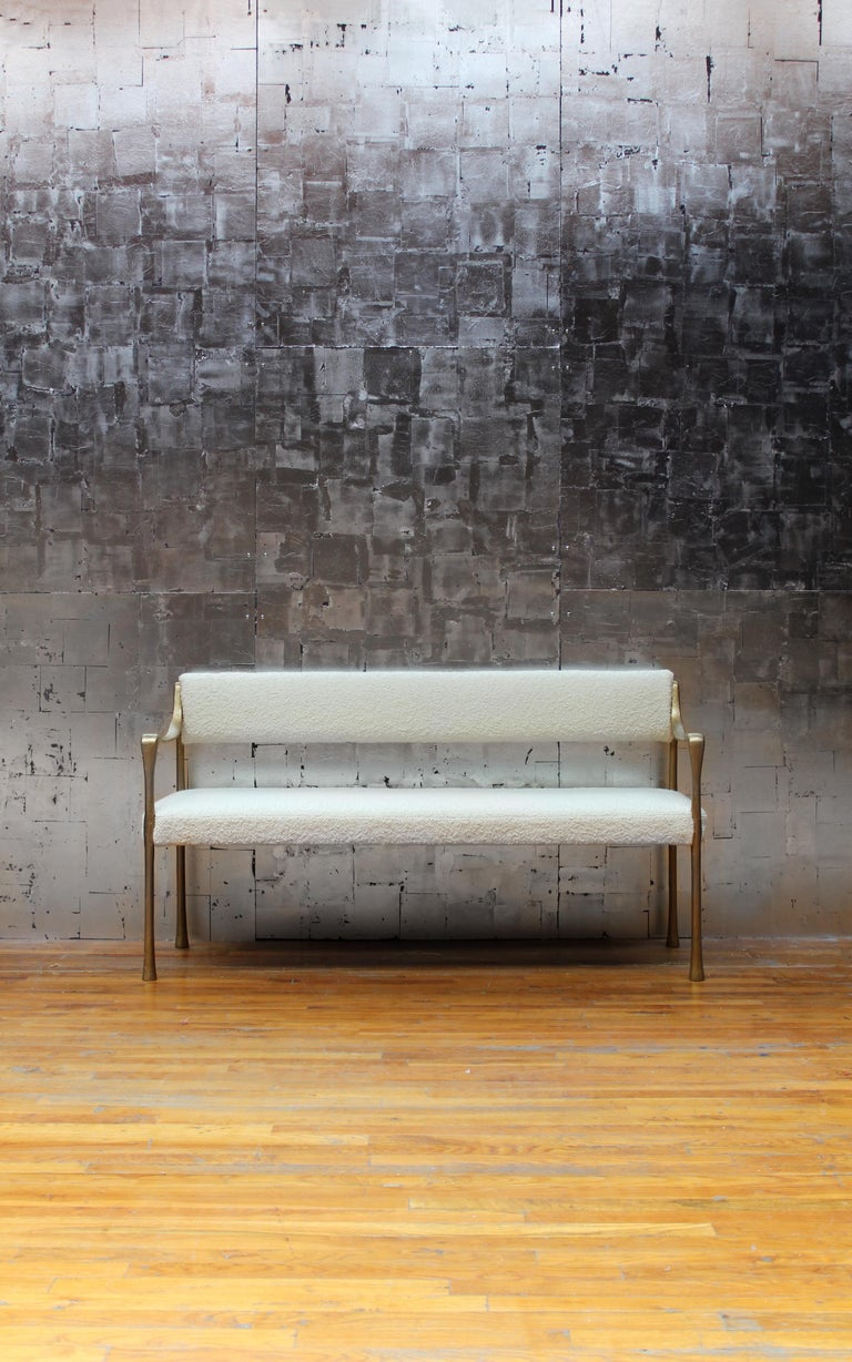 With its sinuous, classical line, the Giac collection is named after Giacometti, its inspiration. The collection provides an elegant and sleek seating option that appears delicate but has incredible gravitas. Shown here in blackened aluminium frame