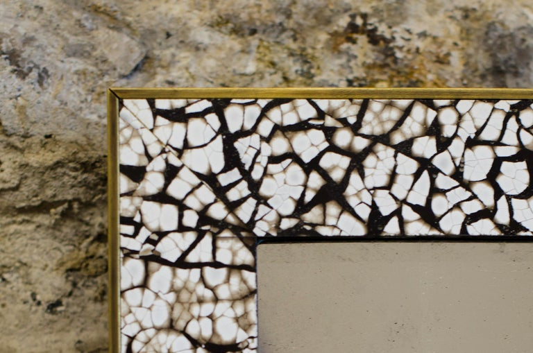 Contemporary Art Deco Style L'Oeuf Mirror, Hand-Cracked Eggshell and Lacquer Frame Rectangle For Sale