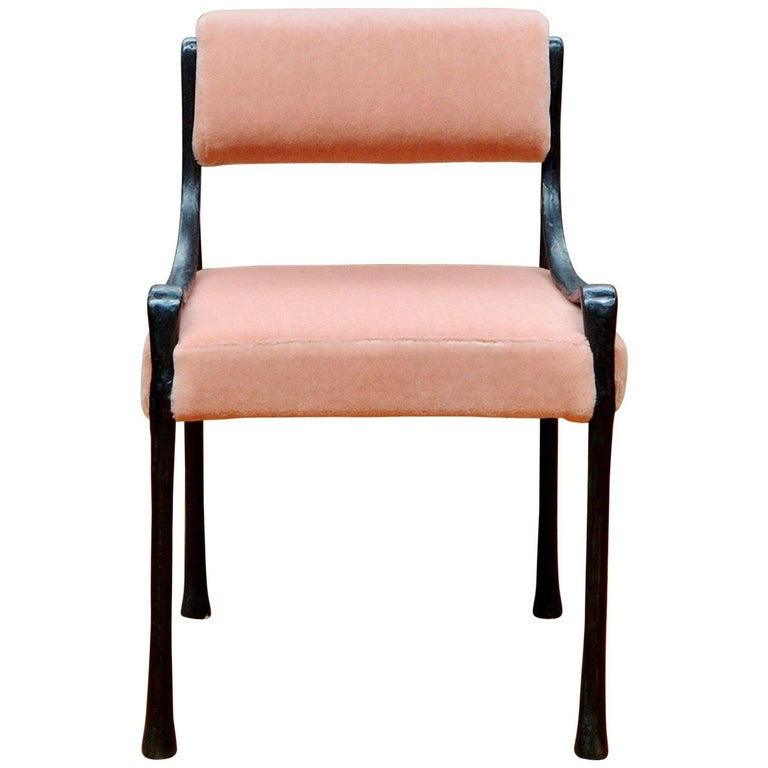 Giac Side Chair Art Deco Inspired Low-Arm Seat with Upholstered Cast Metal Frame For Sale