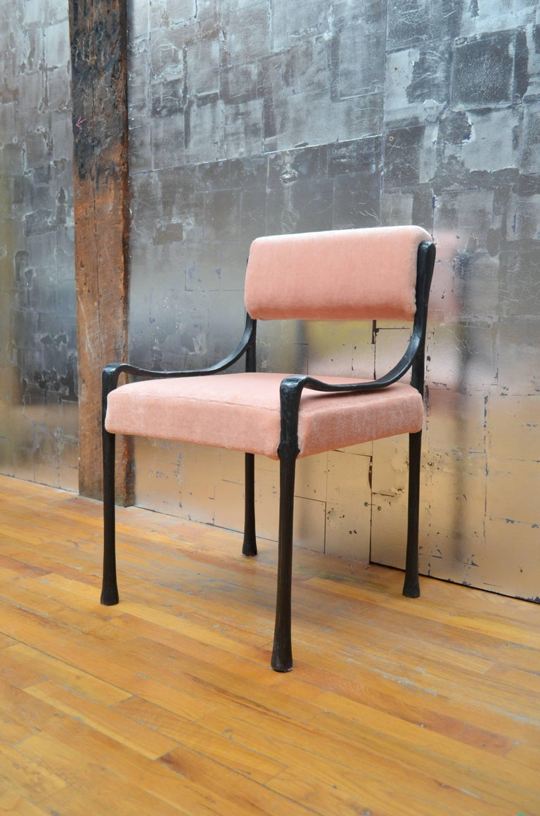 Modern Giac Side Chair Art Deco Inspired Low-Arm Seat with Upholstered Cast Metal Frame For Sale