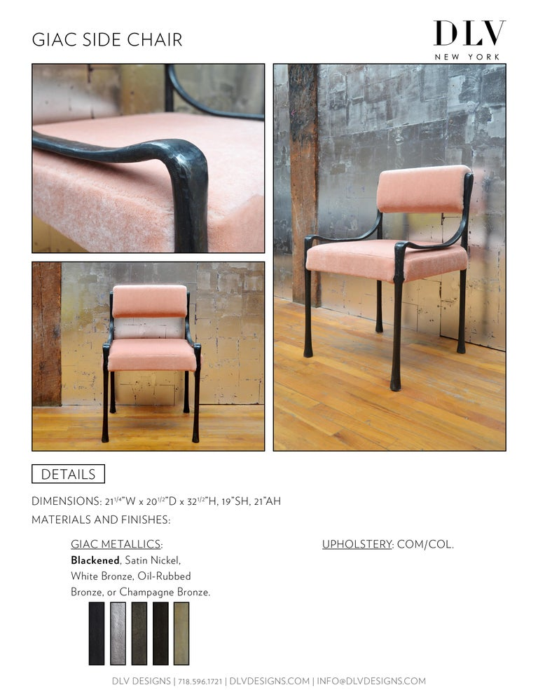 Giac Side Chair Art Deco Inspired Low-Arm Seat with Upholstered Cast Metal Frame In New Condition For Sale In Brooklyn, NY