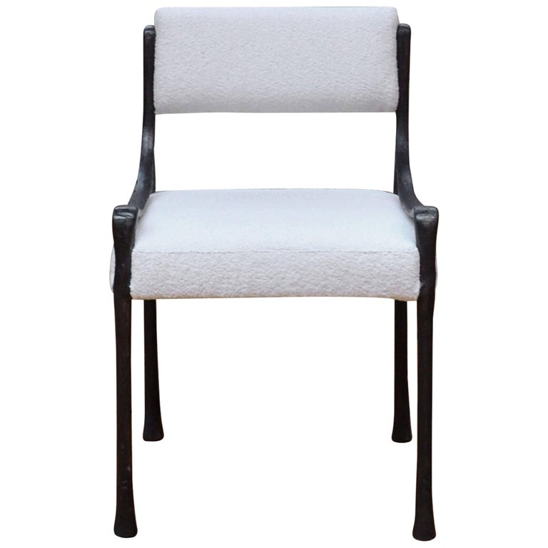 Giac Side Chair Art Deco Inspired Low-Arm Seat with Upholstered Cast Metal Frame