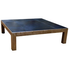 Modern Style Abuelo Coffee Table in Walnut with Hand-Dyed Saddle Leather Top