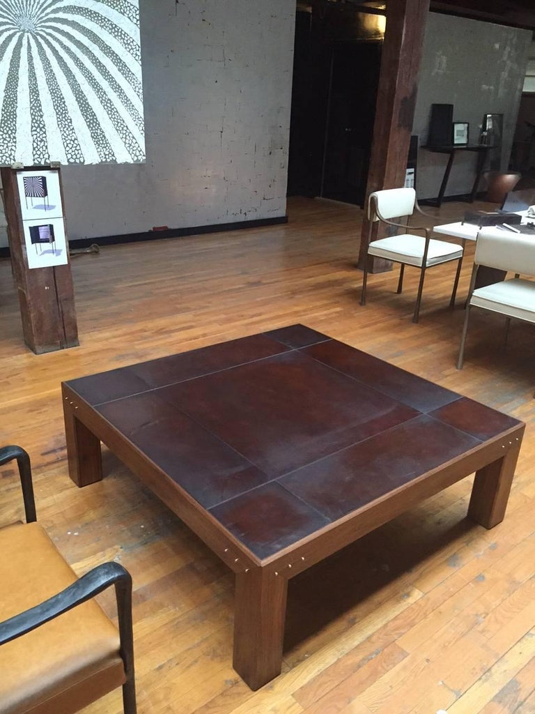 American Modern Style Abuelo Coffee Table in Walnut with Hand-Dyed Saddle Leather Top For Sale