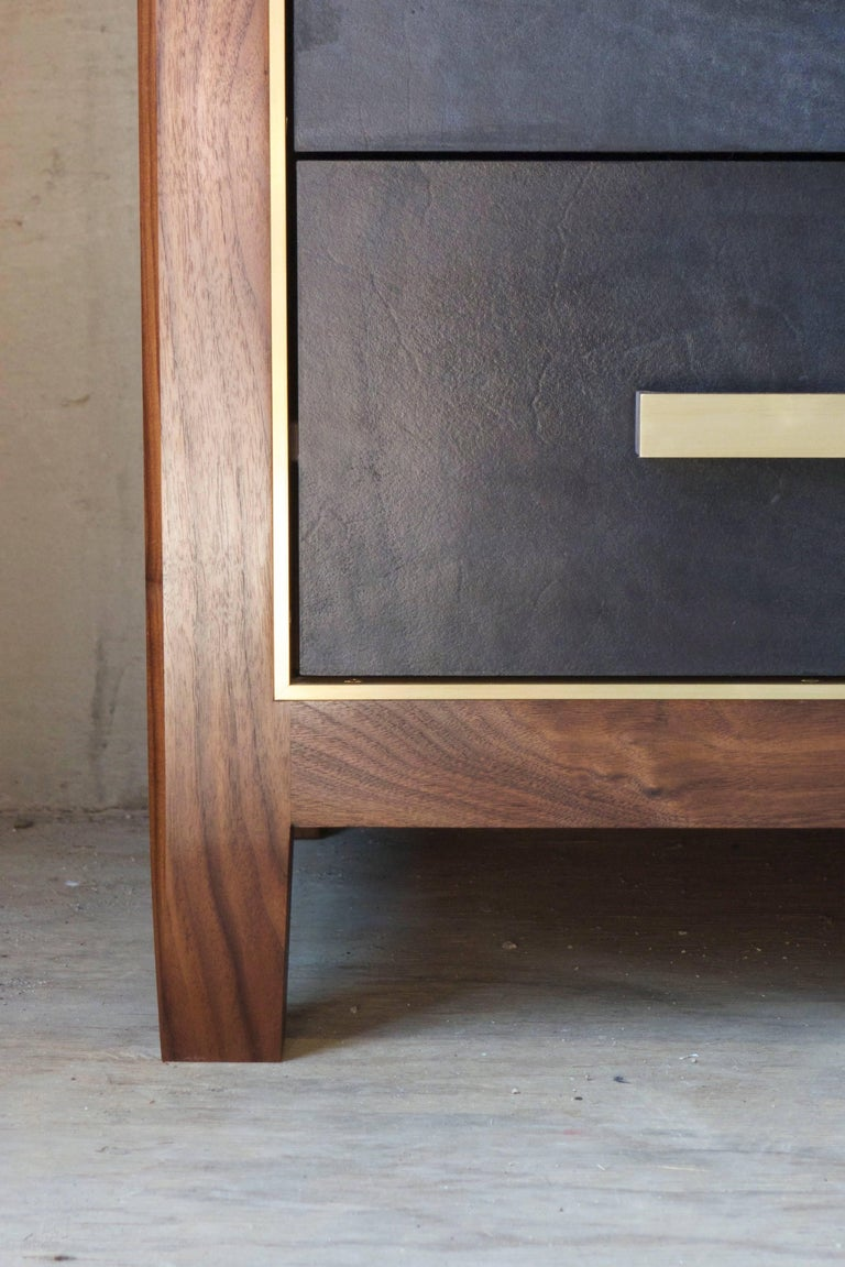Mexican Mid-Century Modern Inspired Abuelo Bureau 12-Drawer in Walnut & Leather In New Condition In Brooklyn, NY