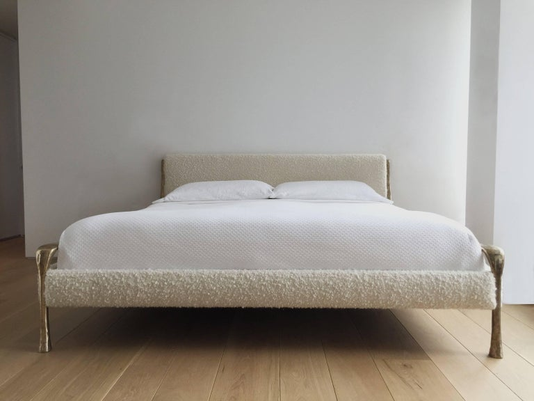 Contemporary Giac Bed with Hand Carved & Cast Bronze & Upholstered Frame In New Condition For Sale In Brooklyn, NY
