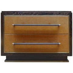 Abuelo Pedestal Nightstand in Oiled & Waxed Wenge with Leather and Brass Detail