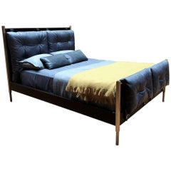 Campanha Bed Frame, Tufted Leather Head and Footboard, Brass Legs, Wooden Frame