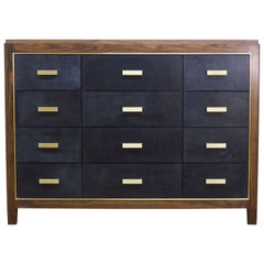 Mexican Mid-Century Modern Inspired Abuelo Bureau 12-Drawer in Walnut & Leather