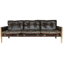 Brazilian Mid-Century Modern Inspired Campanha Sofa in Alga Green Leather