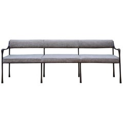 Art Deco Style Giac Settee with Blackened Aluminum Frame & Chenille Upholstery