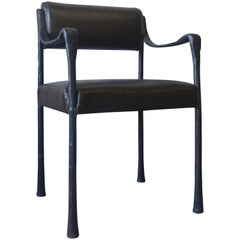 Art Deco Style Giac Dining Chair Upholstered with Cast Metal Frame and Leather