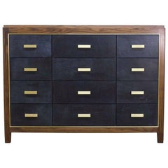 Abuelo Mexican Midcentury Twelve-Drawer Bureau Walnut/Saddle Leather Dresser