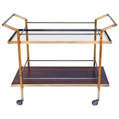 Mid-Century Modern Kent Bar Cart with Brass and Steel Construction