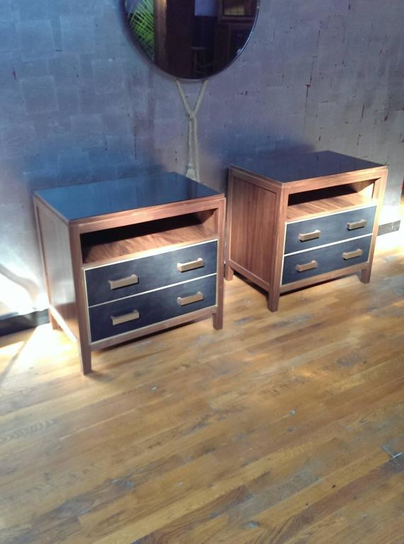 Mid-Century Modern 2-Drawer Abuelo Nightstand in Oiled Walnut w/ Hand-Dyed Leather & Brass Detail For Sale