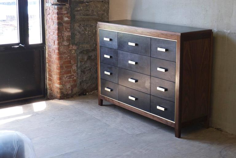Brushed Mexican Mid-Century Modern Inspired Abuelo Bureau 12-drawer in Walnut & Leather For Sale