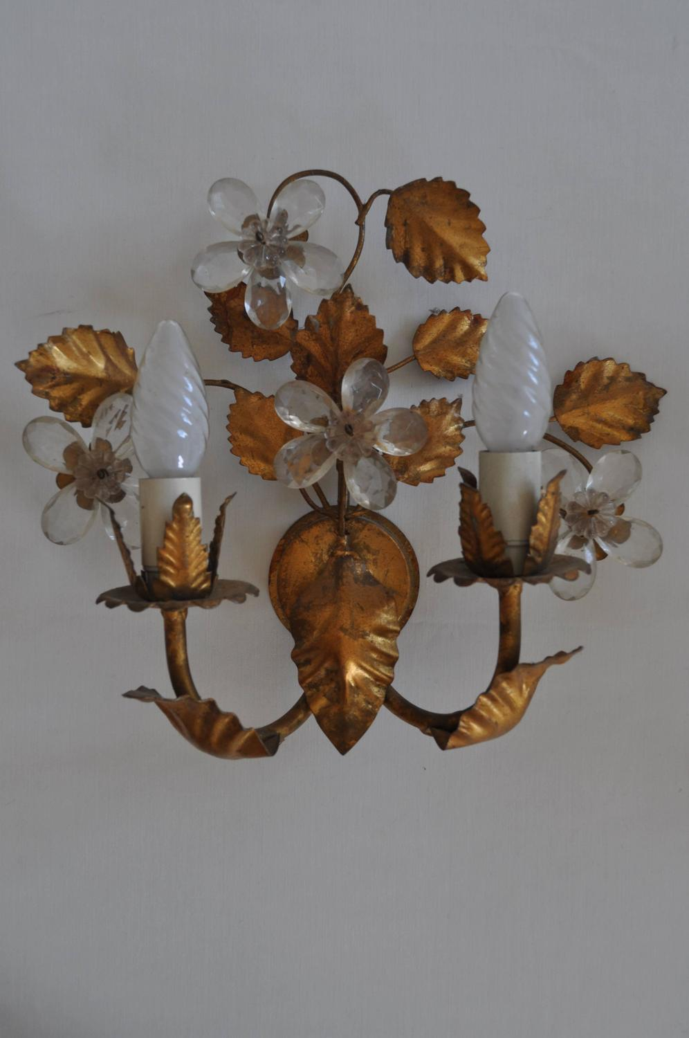 Pair of 1940s Decorative French Glass and Gilt Metal Light Sconces at 1stdibs