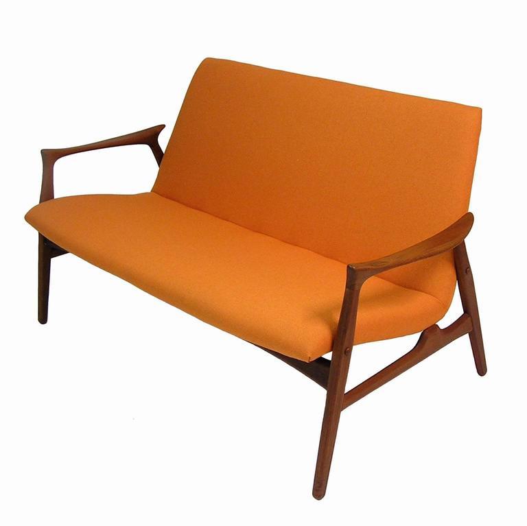 1950s danish modern teak settee by hans olsen for sale at for Danish modern settee