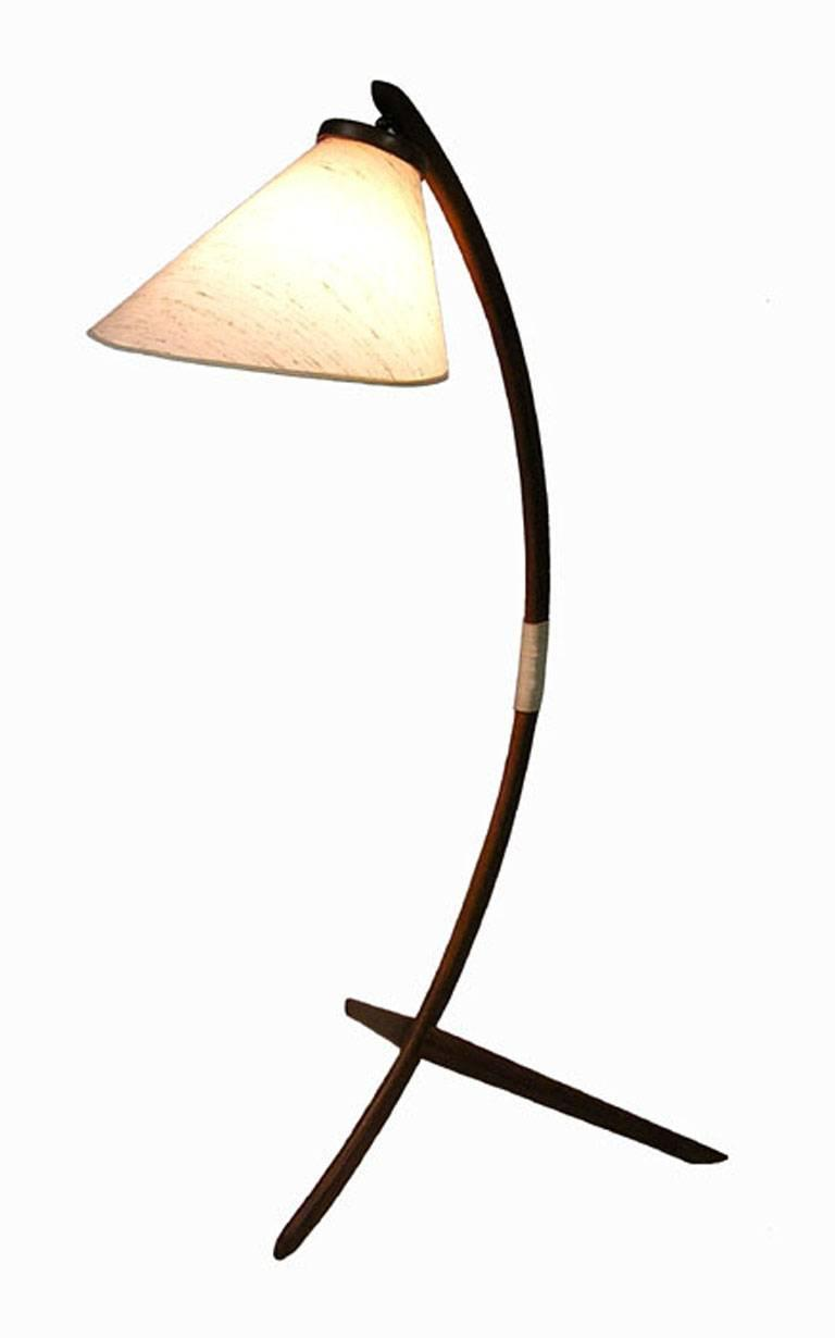 1960s Danish Modern Teak Tripod Leg Floor Lamp At 1stdibs