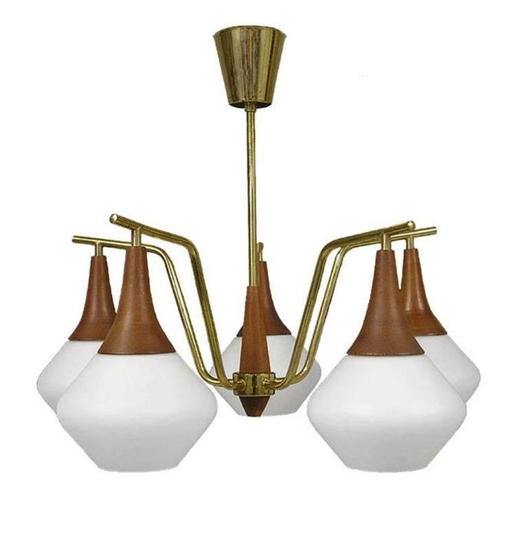 1950s Danish Modern Five-Light Teak and Brass Chandelier 2