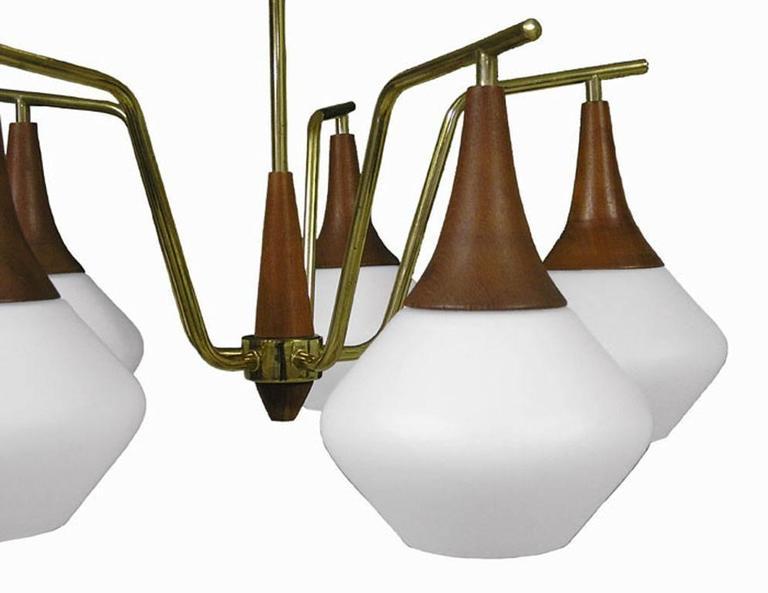 1950s Danish Modern Five-Light Teak and Brass Chandelier 3