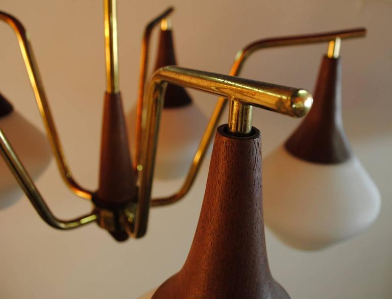 1950s Danish Modern Five-Light Teak and Brass Chandelier 5