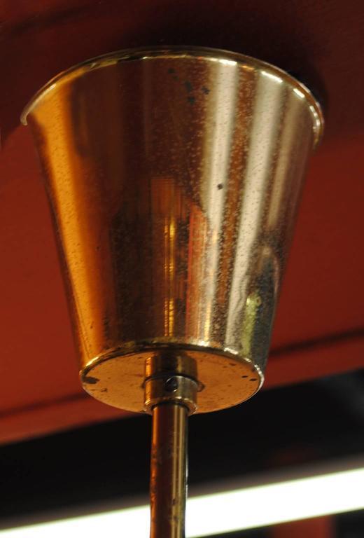 1950s Danish Modern Five-Light Teak and Brass Chandelier 7