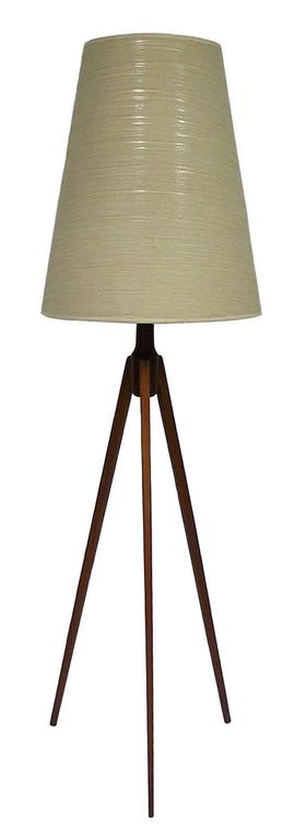 1950s Teak Mid Century Modern Tripod Floor Lamp Denmark