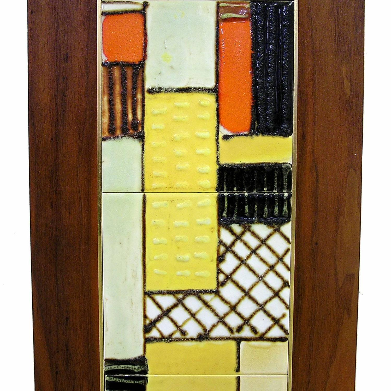 Mid-Century Modern Ceramic Tile Art Wall Plaque by Harris Strong at ...