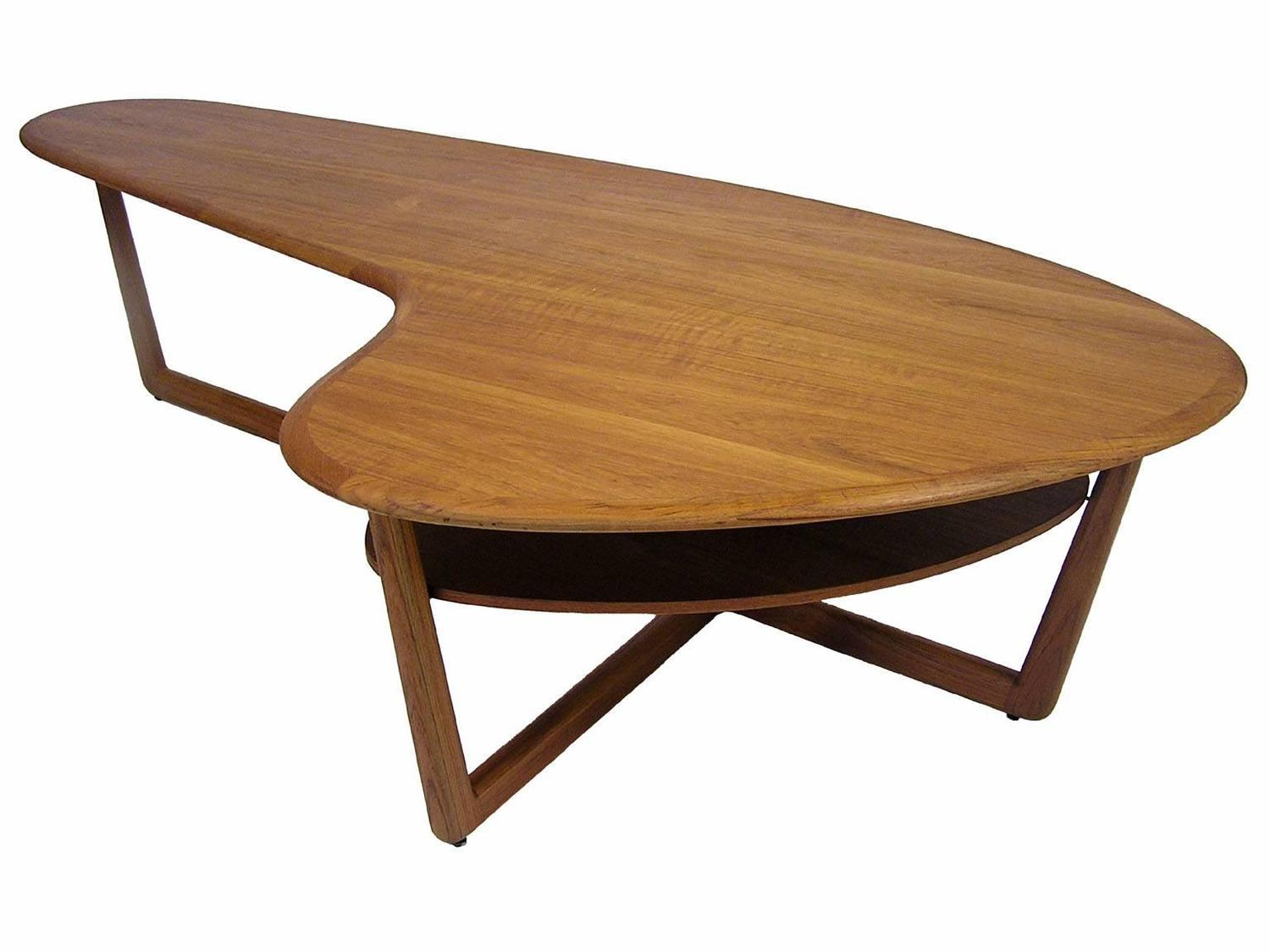 1960s Organic Kidney Shaped Teak Coffee Table For Sale at